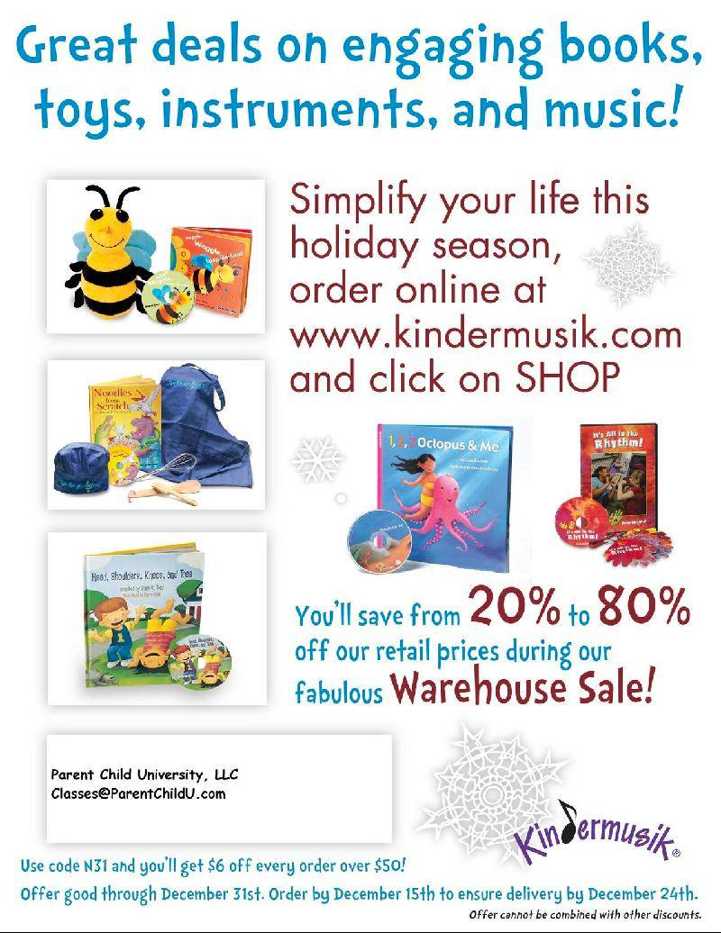 Kindermusik holiday 20%-80% off by mentioning Tracey Kretzer at Parent Child U!