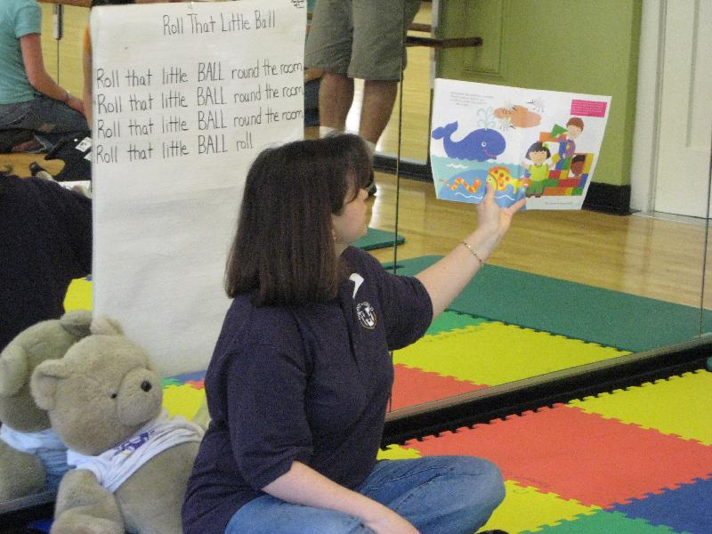 Miss Cindy's story time at a Parent Child U ABC Music & Me class