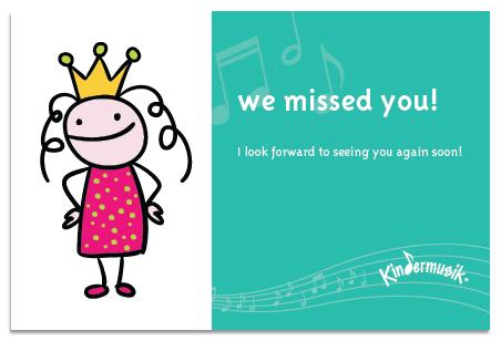 We missed you in Kindermusik class! Parent Child U!