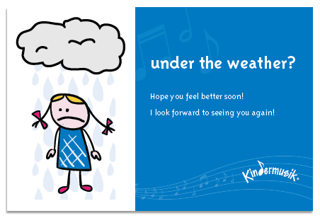 Kindermusik absent child under the weather note at Parent Child U