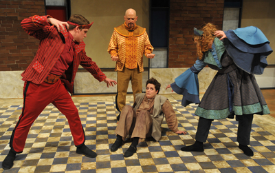 Wang (Kearstyn Keller) is intimidated by the three gods (l. to r.-Chase Francis, Scott Maughmer and Heather Moser)  in The Good Person of Szechuan directed by Jeff Casazza.