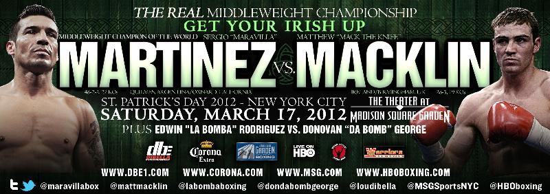 Sergio Martinez vs. Mathew Macklin Press Release vs. Mathew Macklin Press Release