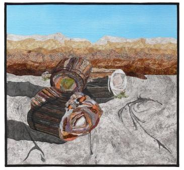 Petrified Log Rhythms, Patricia Gould, mixed-media fiber quilt, Curry County Fairgrounds & Special Events Center