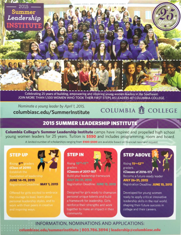 Nominate outstanding young women by April 1, 2015/ Summer Leadership Institute at Columbia College