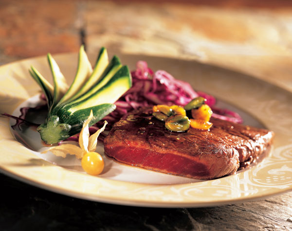 horse steak with ground cherries