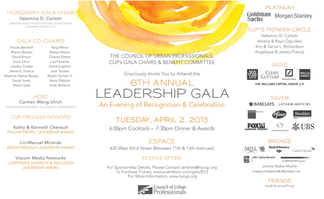 Invitation to CUP's 6th Annual Leadership Gala