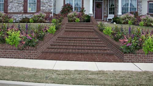 Front Yard Steps - Decorative Concrete