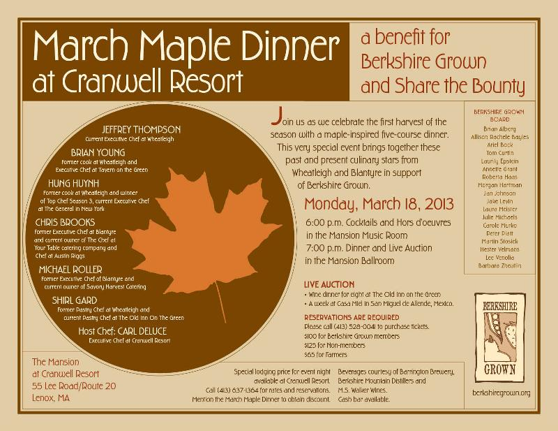March Maple Dinner 2013