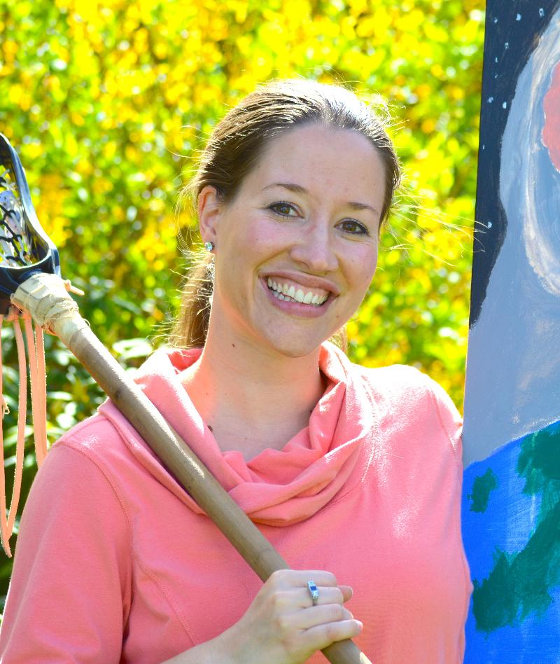 Sarah w LAX stick & Painting