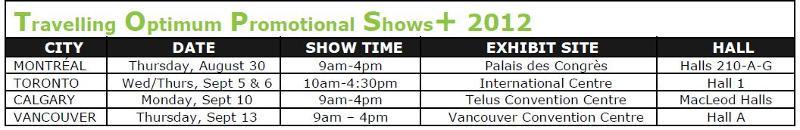 TOPS+ 2012 Schedule