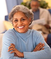 Black senior woman smiling