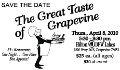 The Great Taste of Grapevine is April  8th!