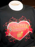 "The limited edition ""Volunteers are the Heart of GRACE"" t-shirt."