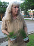 Volunteer Donna Ducey talks about some of the plants in the garden