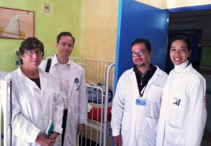 Elizabeth Cartwright, PhD, BSN with staff of the Department of Pediatrics at the Hospital Arco Iris in La Paz, Bolivia