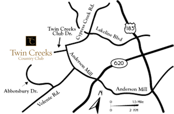 Map to Twin Creeks Country Club