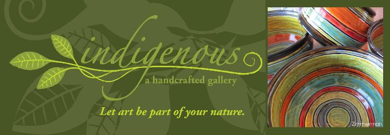 indigenous, a handcrafted gallery ~ dark green logo banner