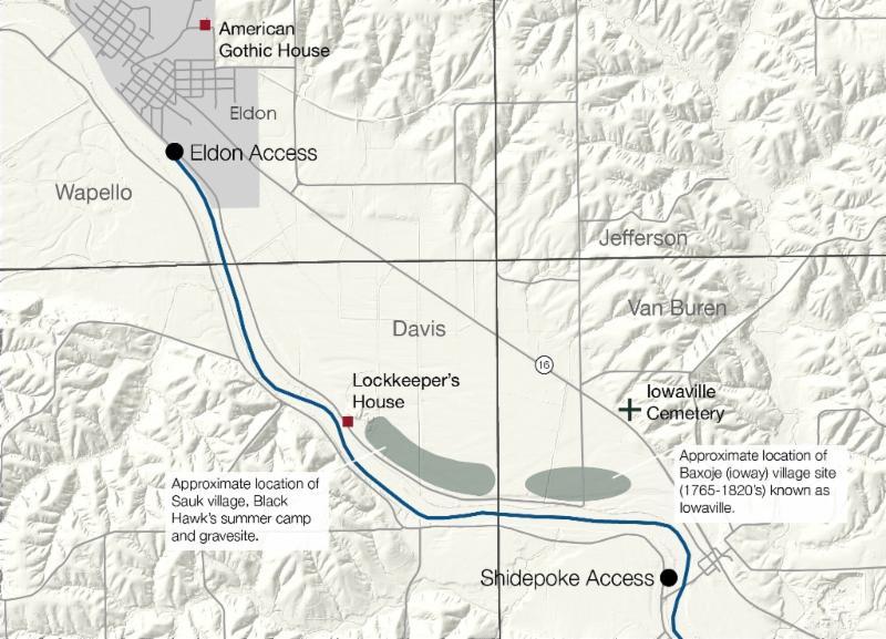 Eldon on Lwr DM River WT Map