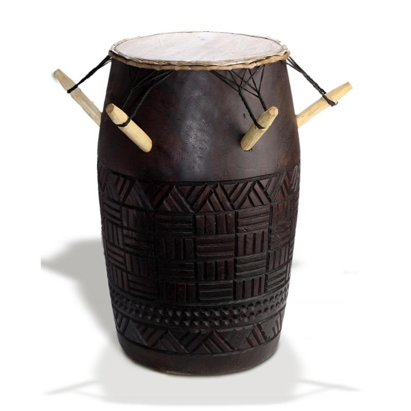 Carved African drum