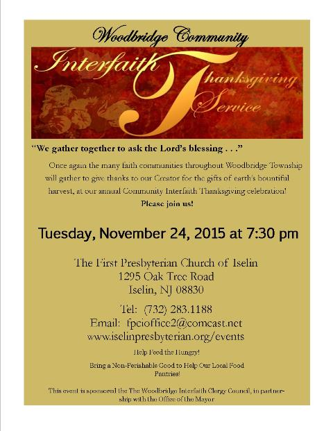 Woodbridge interfaith clergy council host thanksgiving service on tues