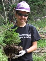 Youth planting trees, USFS photo