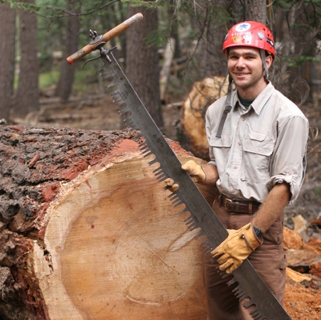 Volunteer with crosscut saw, Ansel Adams Wilderness