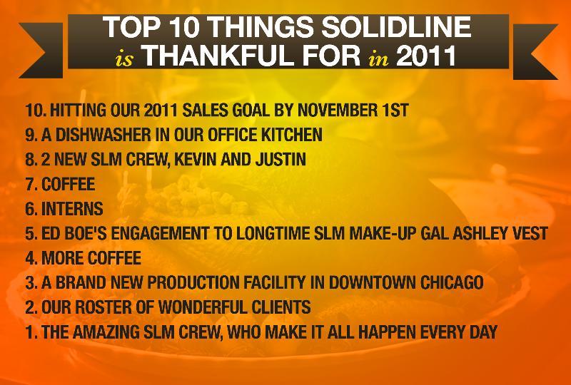 Top 10 Thankful List