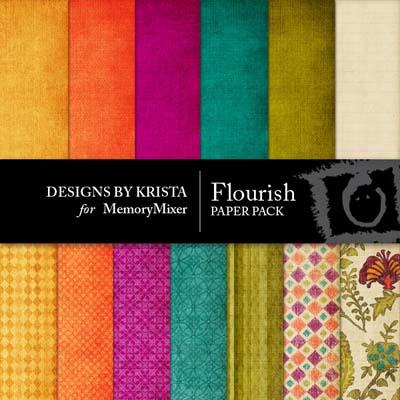 Flourish Paper Pack Digital Backgrounds for MemoryMixer
