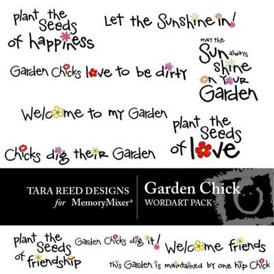 Garden Chick Word Art for MemoryMixer digital scrapbooking