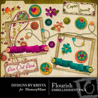 Flourish Embellishments for Digital Scrapbooking