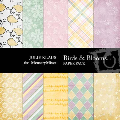 Birds and Blooms Digital Backgrounds for MemoryMixer