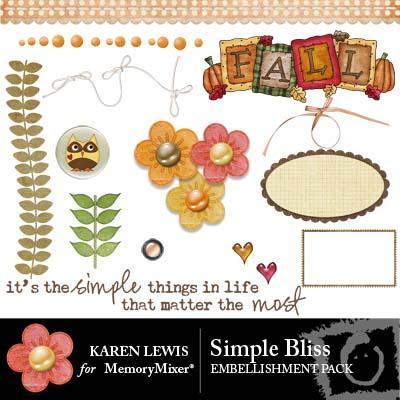 Karen Lewis Simple Bliss digital scrapbooking emebellishments