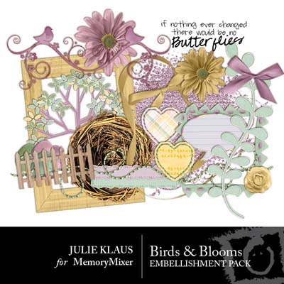 Birds and Blooms Embellishments for Digital Scrapbooking