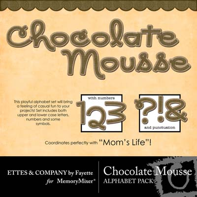Chocolate Mousse Alphabet Pack for Digital Scrapbooking
