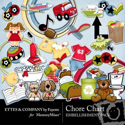 Chore Chart Embellishments for Digital Scrapbooking