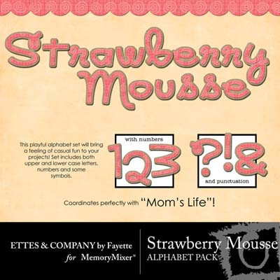 Strawberry Mousse Alphabet Pack for Digital Scrapbooking