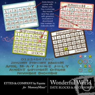 Wonderful World Date Blocks for Digital Scrapbooking