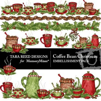 Coffee Bean Chrismtas Embellishment Pack