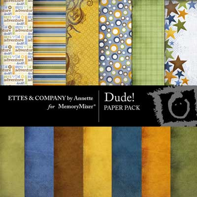 Dude Backgrounds for digital scrapbooking with MemoryMixer