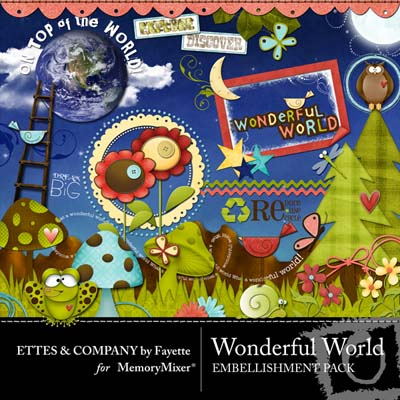 Wonderful World Embellishments for Digital Scrapbooking