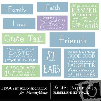 Easter Expressions Wordart for Digital Scrapbooking
