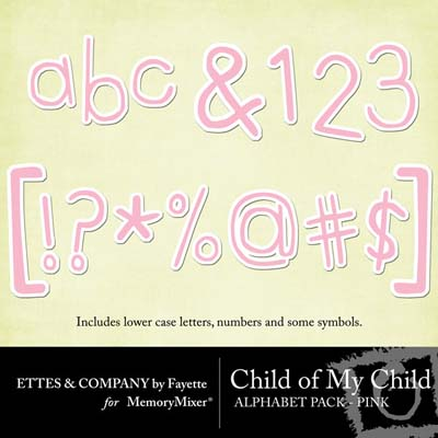 Child of My Child Pink Alphabet Pack for Digital Scrapbooking
