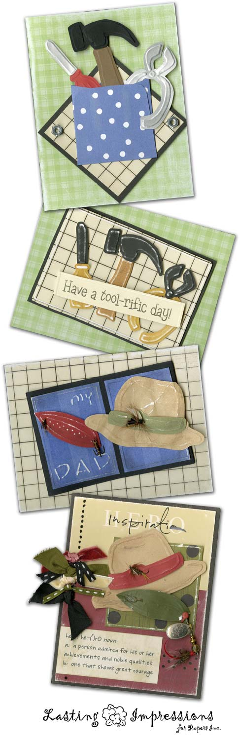 Father's Day Cards using Embossing Templates from Lasting Impressinos
