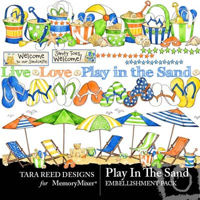 Play In The Sand Embellishments for Digital Scrapbooking