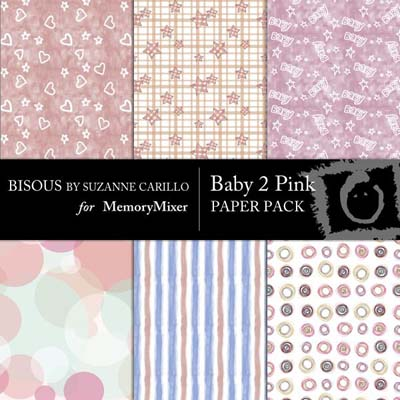 Baby 2 Pink Digital Backgrounds for MemoryMixer