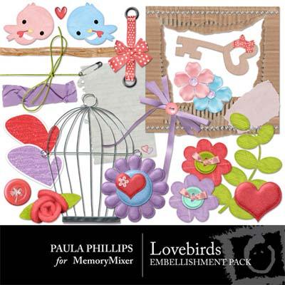 Love Birds Embellishments for MemoryMixer