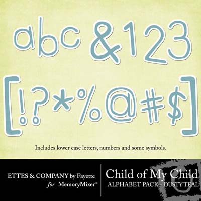 Child of My Child Teal Alphabet Pack for Digital Scrapbooking