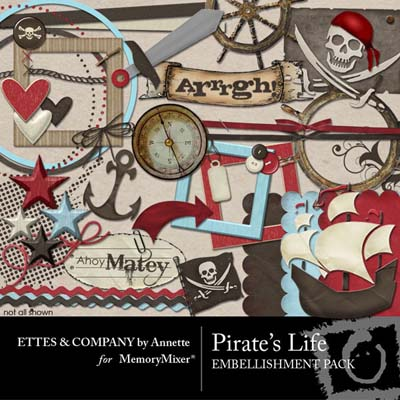Pirates Life Embellishments for Digital Scrapbooking