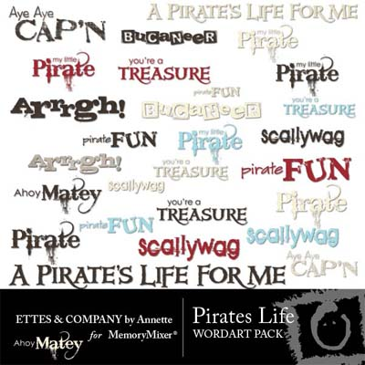 Pirates Life Wordart for Digital Scrapbooking