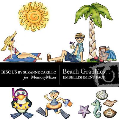 Beach digital Scrapbooking elements